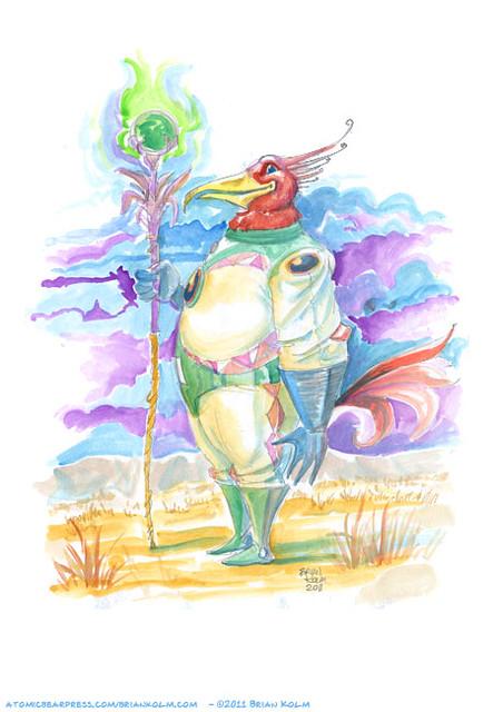 Bird headed astronaut watercolor
