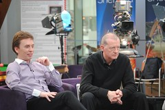 Ken Doherty and Steve Davis ready for analysis (zawtowers) Tags: world winter playing television gardens studio ginger championship interesting with theatre sheffield steve ken tournament doherty davis legend snooker nugget bbc2 magician iphone crucible 2011 worldsnookerchampionship thehomeofsnooker thedarlinofdublin