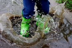 Big Jump (Droobie6) Tags: boy rain fun 50mm boots pentax frogs splash puddles