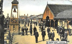 Liverpool c 1900s Postcard - Businessmen at the Landing Stage (ronramstew) Tags: old uk england men ferry liverpool vintage river suits postcard hats period mersey commuters 1900s landingstage businessmen merseyside