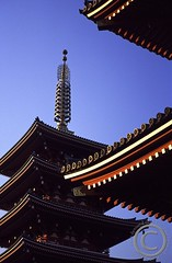 RO459 A multi-tiered pagoda in the Sensoji Temple, Asakusa, Tokyo, Japan (Paul_Dymond) Tags: building film japan buildings asian religious sensoji japanese tokyo pagoda shrine asia religion asakusa shrines pagodas tiered honshuu