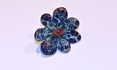 Exotic Blue Flower Bead (SimplP) Tags: flower art glass torch bead lampwork pendant flamework hotglass borosilicate torchwork