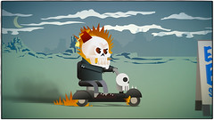 Ghost Rider on scooter (sketchy pictures) Tags: skull sketch comic doodle marvel ghostrider