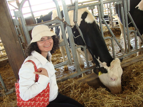 me and a cow...and my scissors purse!