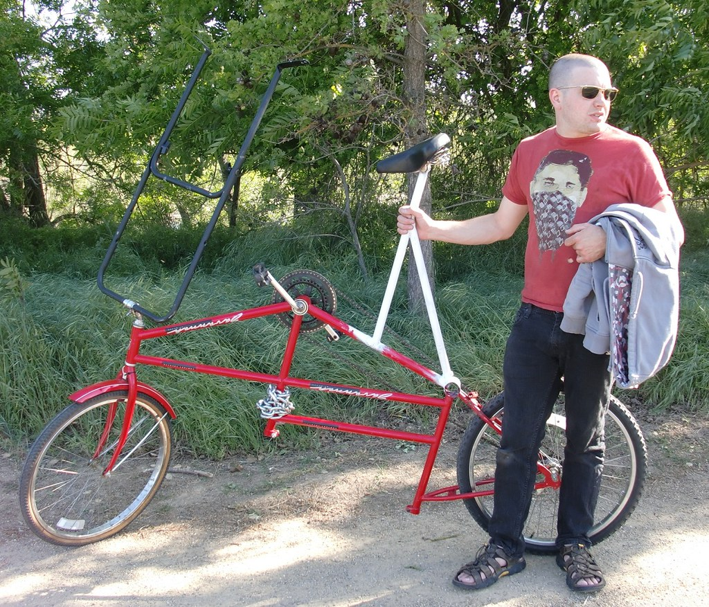 tall bike made from Huffy tandem