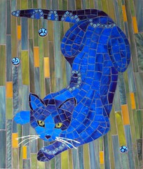 Blue Cat (cbmosaics - Christine Brallier) Tags: blue cats moon art night cat kitten kitty mosaics stainedglass millefiori cbmosaics bralliercm