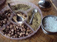 Nepali special dessert: grains, sugar, and nutmegs