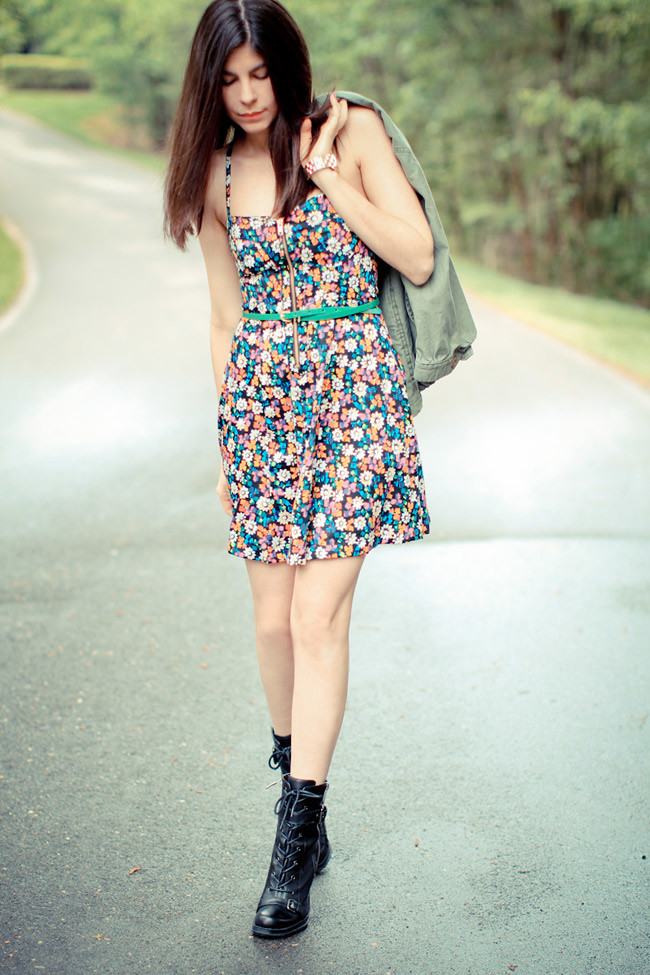 French Connection Floral Print Dress, Guess Combat boots, Marc Jacobs Gold Watch,  Utility Jacket