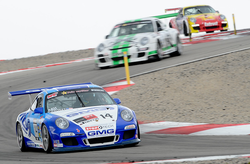 Three Porsche GT3 RS at the Pirelli World Challenge