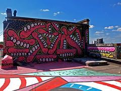 Sweet Toof & Paul Insect (Alex Ellison) Tags: pink urban streetart rooftop graffiti high bc teeth pins gums roller eastlondon hackneywick paulinsect burningcandy sweettoof