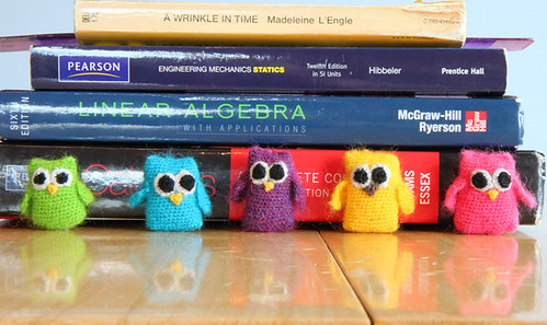 crochet owls with books