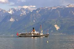 Lausanne, Vaud, Switzerland, Geneva Lake (photoriel) Tags: mountain lake alps landscape switzerland boat spring lausanne savoie steamer vaud genevalake laclman kartpostal worldtrekker