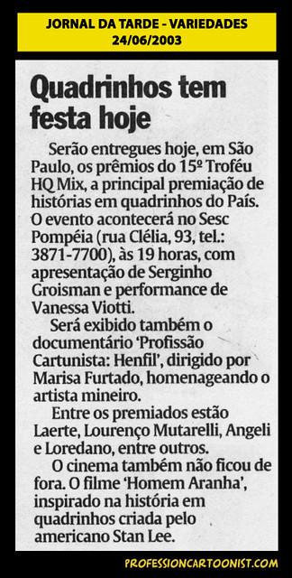 """""""Quadrinhos tem festa hoje"""" - Jornal da Tarde - 24/06/2003"""