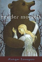 Tender Morsels cover showing a bear hugging a blond woman