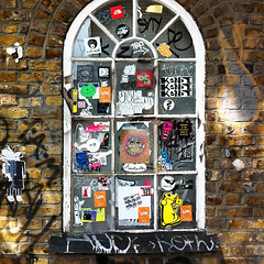 Window on (alternative) London (vintagedept) Tags: street uk streetart london stickers sunny shoreditch stroll squared ldn iphone4 shoreditchouting