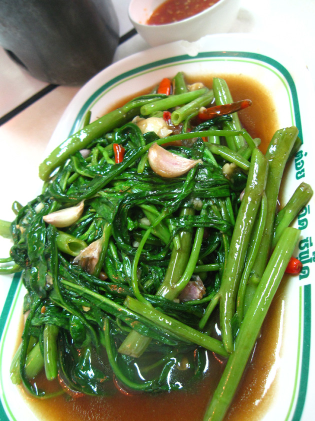 stir fried morning glory with chilies (pad pak bung fai daeng ผัดผักบุ้งไฟแดง)