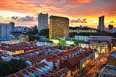 Singapore Chinatown @ Sunset... (williamcho) Tags: sunset landscape singapore chinatown cityscape malls housing shophouses d300 peoplesparkcomplex williamcho topazladadjust