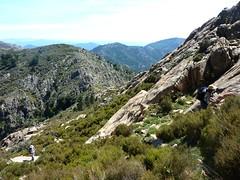 Crêtes de Marignana : remontée du couloir Sud-Est du Capu di u Vitullu avec la vue sur le petit col d'arrivée des crêtes en contrebas