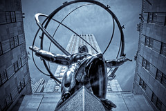 He Carries the Weight of the World (A. Strakey) Tags: nyc newyorkcity newyork day manhattan 5thavenue rockefellercenter bronzestatue gothamist gotham hdr 30rock newyorkny statueofatlas rockefellerplaza leelawrie gebuilding thebigapple cloudyday photomatix 30rockefellerplaza yahooweather renepaulchambellan
