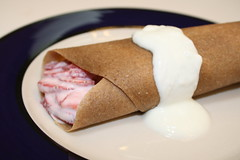 Coconut-Banana Crepes w/Strawberry Cashew Cream