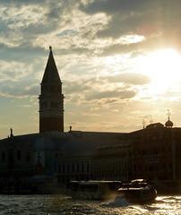 End of the day (Channed) Tags: city travel venice italy tower water italia churchtower venezia silhouet vaporetto itali waterbus veneti vaporetti chantalnederstigt
