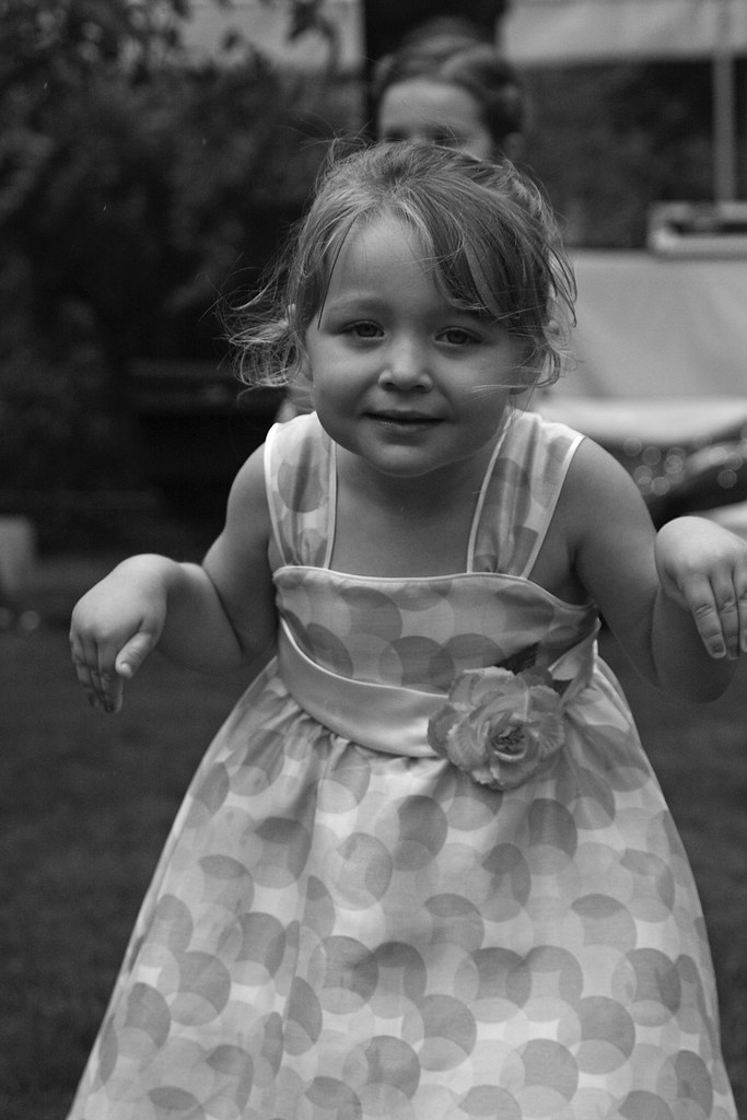 Sad kids black and white dresses