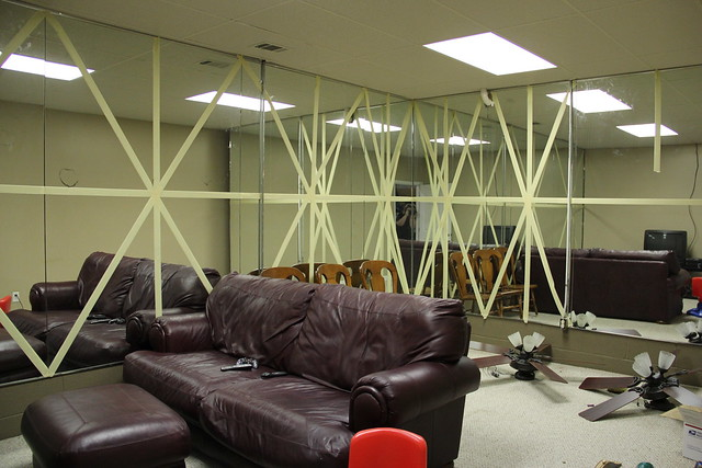 mirrored room in basement