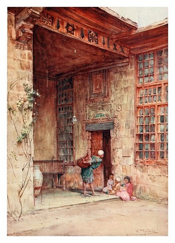 020-Patio de una casa del Cairo-Below the cataracts (1907)- Walter Tyndale