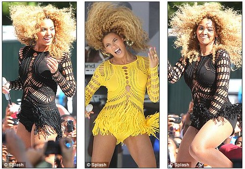 Beyonce 'fros some moves in identical yellow and black crochet dresses for Good Morning America performance   3