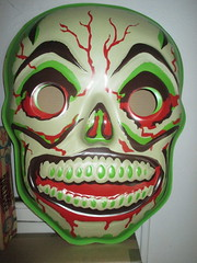 Green Grinning Skull Mask 6201 (Brechtbug) Tags: green grinning skull mask halloween semi vintage with regular sized uncle sam box ben cooper collegeville halco ghoulsville retro newspaper sunday funnies comics holiday costume comic strip book comicbook spy movie film cinema americana america freedom justice super hero spooky jumbo size
