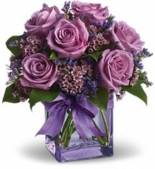 "#16ED $65  12 Lavender roses, wax flower, and salal foliage. • <a style=""font-size:0.8em;"" href=""http://www.flickr.com/photos/39372067@N08/5552186538/"" target=""_blank"">View on Flickr</a>"