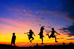 Smokey Mountain, Tondo - Ballet ! (Mio Cade) Tags: boy sunset ballet mountain girl beautiful silhouette children kid jump garbage philippines dump rubbish manila smokey hazardous tondo