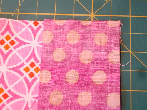 Altered Four Square Quilt Block Tutorial: Sewing the Middle Pair - Closeup