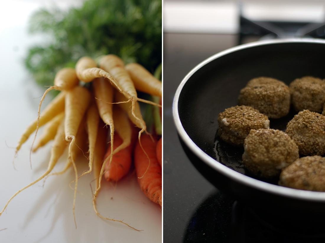 Cenouras, cherovias e almôndegas