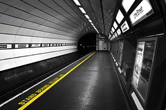 underground....... (dave-baker) Tags: street bw white david black color colour art station yellow train liverpool underground photography stand photo nikon flickr baker cheshire pop line april behind lime selective merseyside widnes 2011 davebaker d7000
