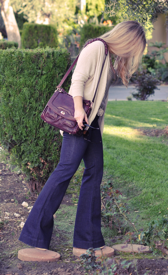 70's flares and cynthia rowley burgundy bag with tassels 4