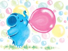 33 - Bubbles - Rondy loves bubble gum (Oksancia) Tags: pink blue elephant cute green animal yellow illustration gum painting circle paper print colorful bubbles hobby blow canvas adventure card round bubble childrens bubblegum etsy archival decor rondy giclee oksancia