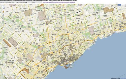 Contributions to New Democrats 2009 - Toronto area