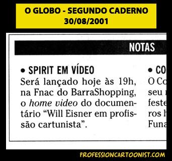 """Spirit em vídeo"" - O Globo - 30/08/2001"