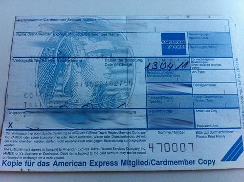 AmEx paper receipt