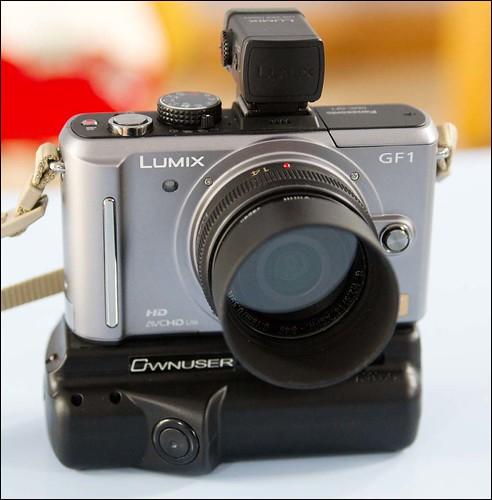 Panasonic GF1 14mm f/2.5 lens and Ownuser battery grip.