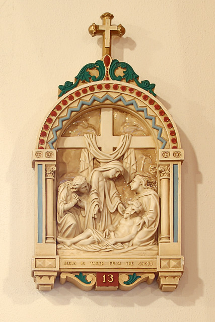 Saint Nicholas Roman Catholic Church, in Pocahontas, Illinois, USA - XIIIth Station of the Cross, Jesus is taken from the Cross