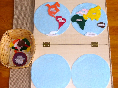 Felt Continents Map (Photo from United Montessori Association)