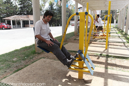 Exercise Equipment behind the church?