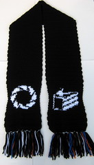 Portal scarf (doctormoo) Tags: hat crochet gamer videogame portal beanie tuque geekery apeturescience