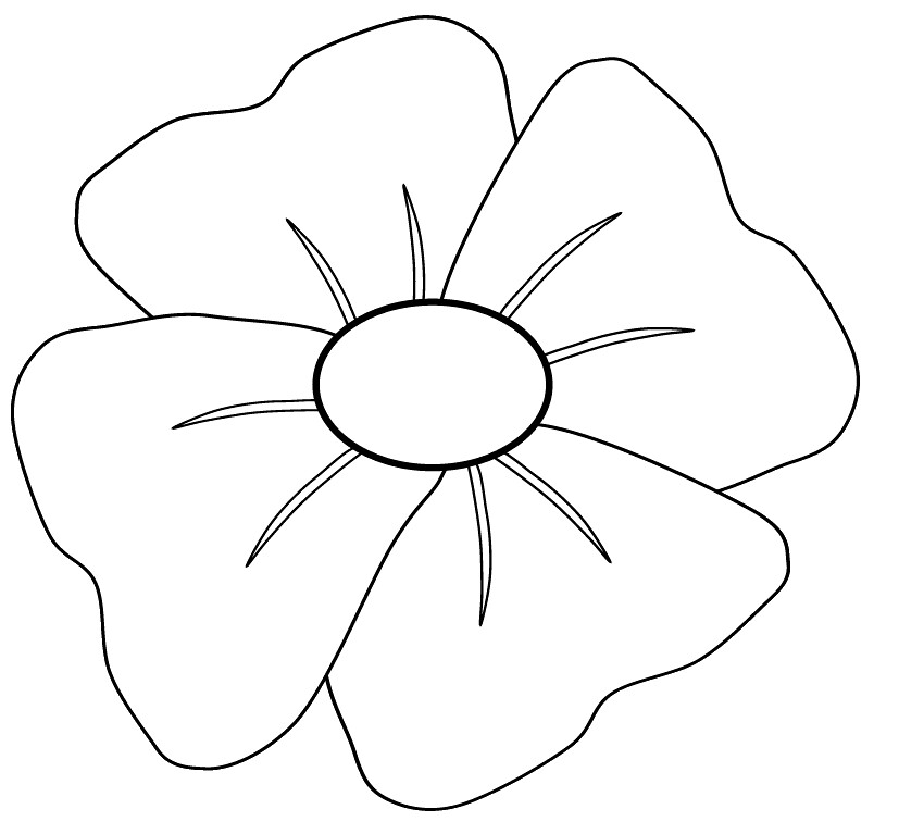 poppy clip art to colour, 14cm