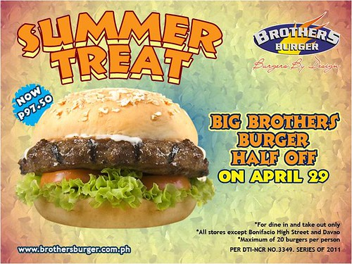 Brothers Burger 50% Off Summer Treat April 2011