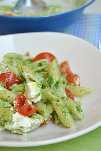 Penne with Arugula and Pistachio Pesto