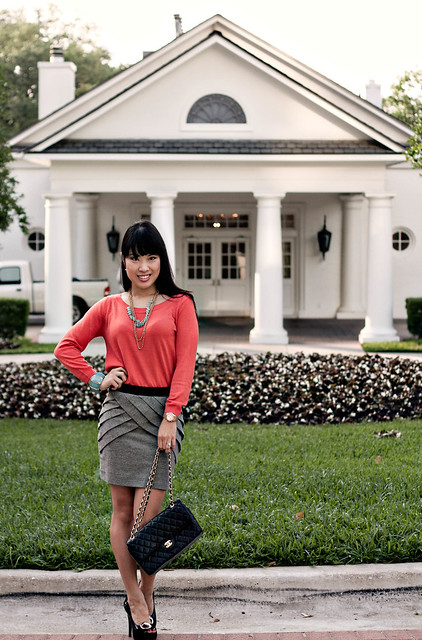 hm coral sweater urban outfitters panelled skirt forever 21 mint necklace bcbgeneration buckle pumps chanel m/l flap purse