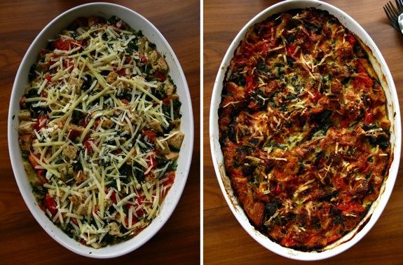 swiss chard tomato spinach asiago strata 001
